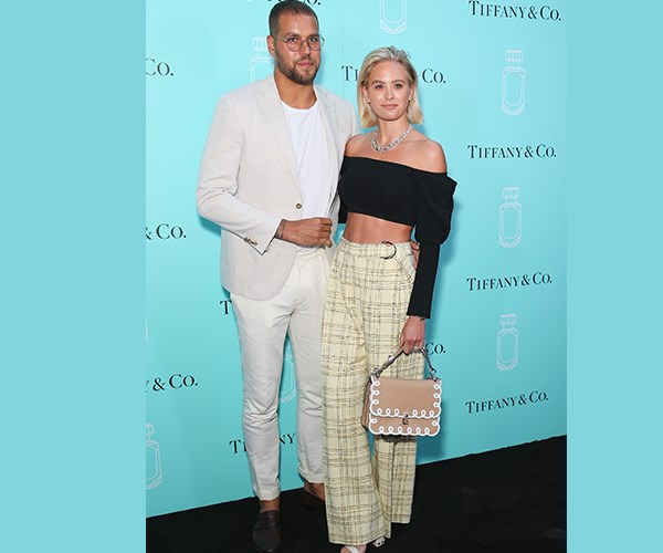 The couple upped their fashion game for the exclusive event with Buddy Franklin opting for an all-white ensemble and thin-framed round glasses. Jesinta paired an off-the-shoulder top by Camilla and Marc with high-waisted Bianca Spender pants and white heels. She accessorised her chic outfit with a chunky silver necklace and a Fendi bag, oh and her new platinum blonde bob, of course!