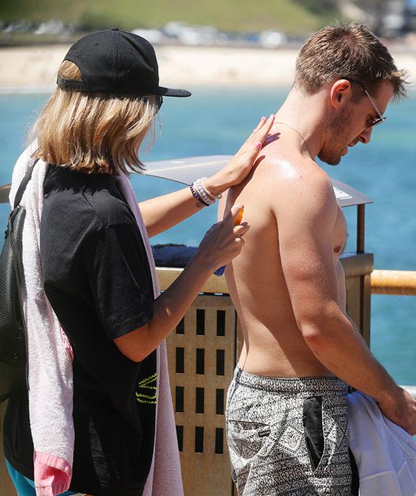 The dance instructor made sure Hugh was layered up in suncream.