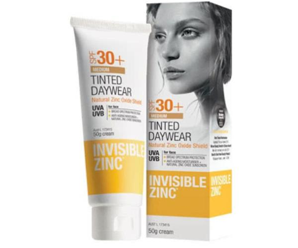 "Invisible Zinc Tinted Daywear SPF30+, $39, [Adore Beauty](https://www.adorebeauty.com.au/invisible-zinc/invisible-zinc-tinted-daywear-spf30.html|target=""_blank""