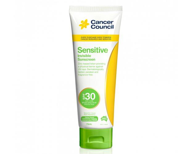 "Cancer Council Sensitive Invisible Sunscreen SPF30, $14.99, [Priceline Pharmacy](https://www.priceline.com.au/cancer-council-sensitive-invisible-sunscreen-spf30-75-ml|target=""_blank""