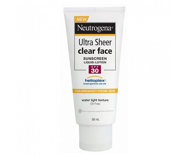 """Neutrogena Ultra Sheer Clear Face Sunscreen Lotion SPF30, $16.99. [Priceline Pharmacy](https://www.priceline.com.au/skincare/sun-and-tanning/sun-protection/neutrogena-ultra-sheer-clear-face-sunscreen-lotion-spf30-88-ml