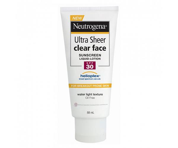 "Neutrogena Ultra Sheer Clear Face Sunscreen Lotion SPF30, $16.99. [Priceline Pharmacy](https://www.priceline.com.au/skincare/sun-and-tanning/sun-protection/neutrogena-ultra-sheer-clear-face-sunscreen-lotion-spf30-88-ml|target=""_blank""