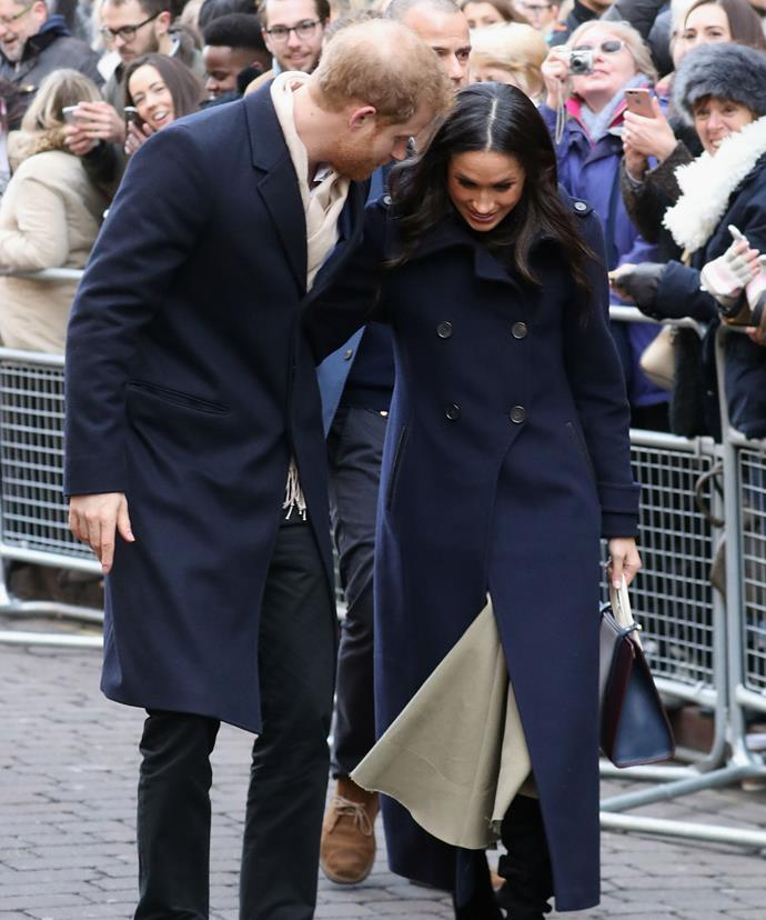 Harry appeared very attentive of his wife-to-be.