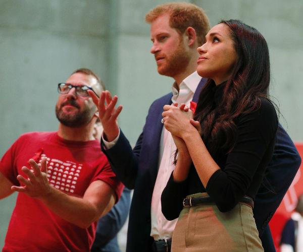 Harry and Meghan's first stop was the Nottingham Contemporary, an art centre hosting a celebration for World AIDS Day.