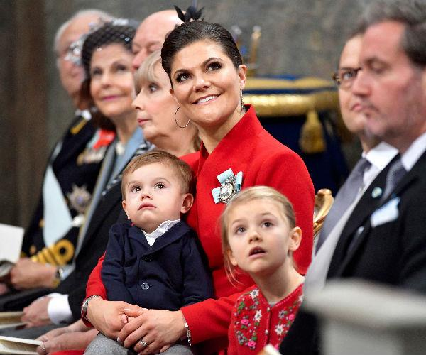 Several members of the Swedish royal family gathered for the happy occasion, including Crown Princess Victoria, Prince Daniel and their children Princess Estelle and Prince Oscar.
