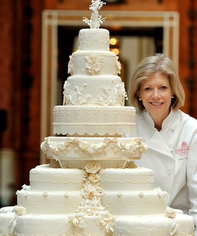 William and Kate's wedding cake held beautiful significance for the couple. Here, cake-maker Fiona Cairns shows off the masterpiece.