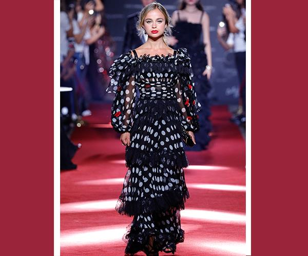 Lady Amelia Windsor graced the runway at the Dolce & Gabbana secret show during Milan Fashion Week Spring/Summer 2018.