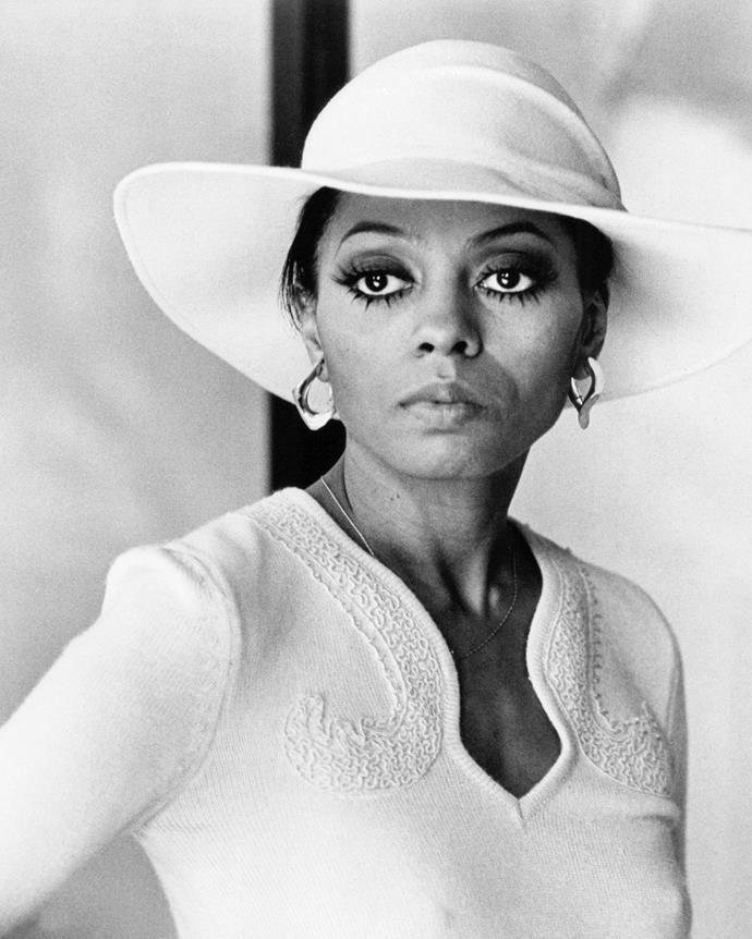 **1975 – Diana Ross** With her sparkling on-stage outfits, towering curls and dramatic eye makeup, Diana Ross was one of the Seventies most glamorous style icons.