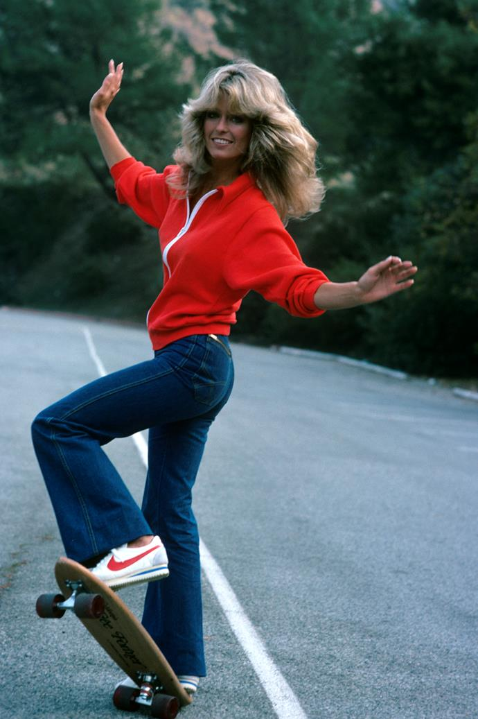 **1976 – Farrah Fawcett** One of the most defining images of the decade, Farrah Fawcett's knit/kick flare/Nikes combo is still relevant today.