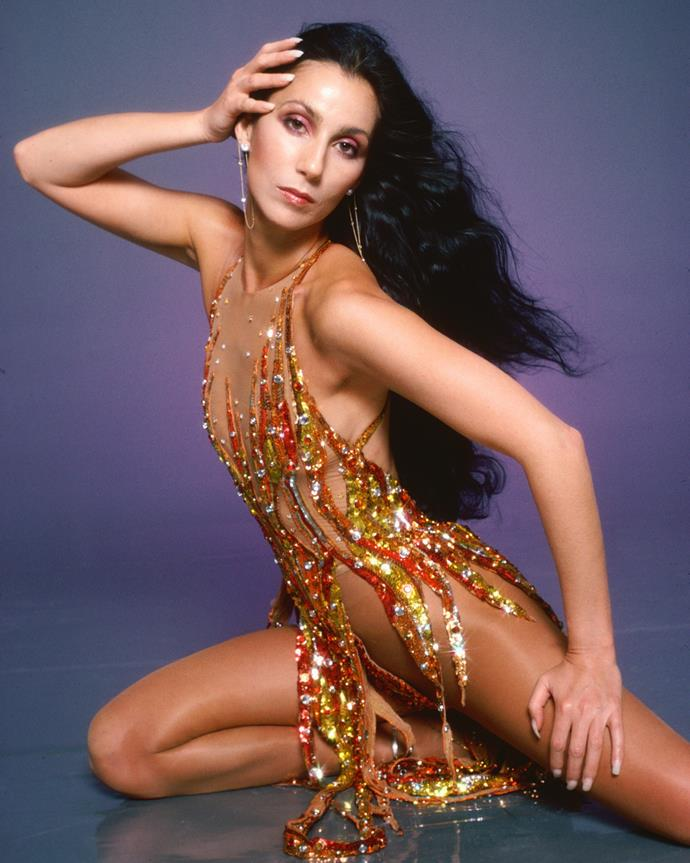 **1978 – Cher** Never one to do things subtly, Cher's glittering bodysuit from the video for her 1978 track, Disco Inferno, is one of our all-time favourite looks.