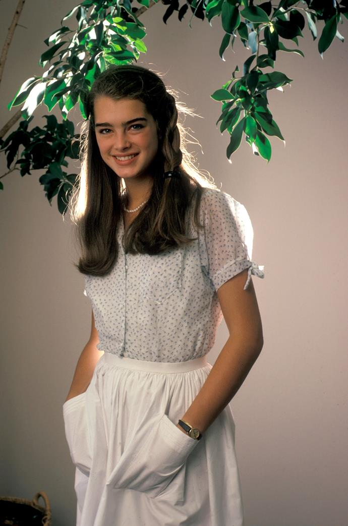 **1985 – Brooke Shields** Revered for her perfect eyebrows and cool-girl approach to fashion, Brooke Shields is one of the defining faces of the eighties.