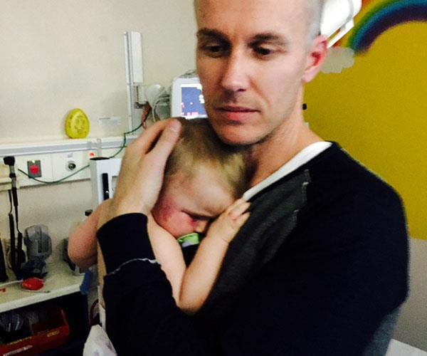 My brother Kristian with Evie in hospital