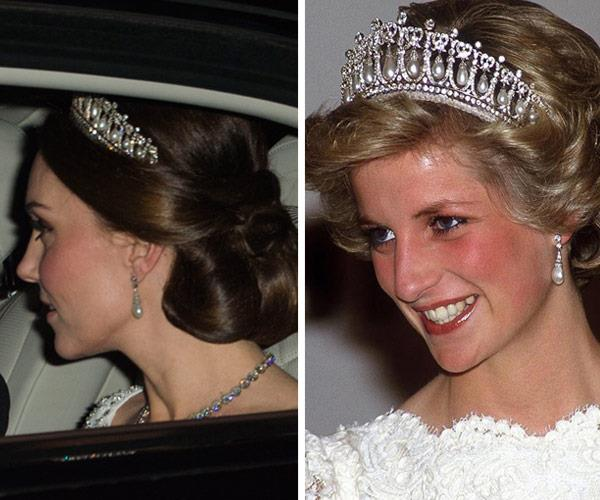 A pregnant Duchess Catherine wore the iconic Lover's Knot tiara, which was a favourite accessory of Princess Diana's.