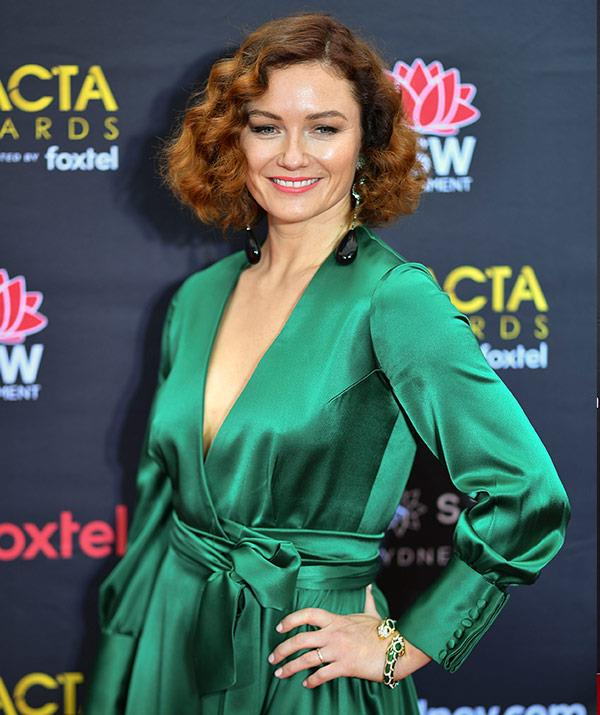 Actress Alison McGirr is owning this emerald-green gown!