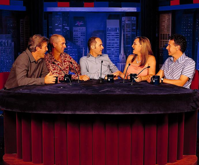***The Panel *1998: ** Comedic favourites Working Dog Productions continued their stellar run with hit talk show *The Panel. *Regulars at the desk were **Glenn Robbins, Rob Sitch, Tom Gleisner, Kate Langbroek** and **Santo Cilauro. **