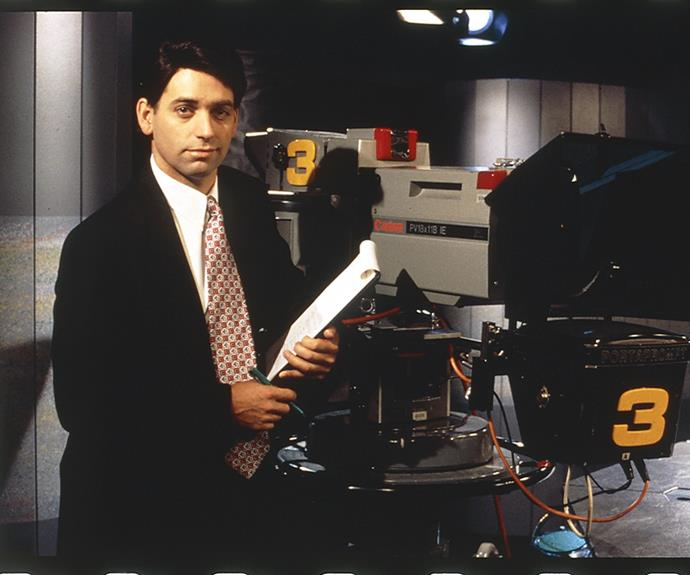 ***Frontline* 1994: ** Comedians **Rob Sitch** and **Jane Kennedy** starred in the fictional current affairs program. Rob played self-obsessed anchor Mike Moore.