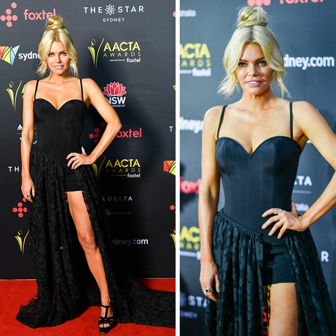 The *Love Island* host shut down the red carpet in a black bodice top and a lace skirt with a thigh-high split.