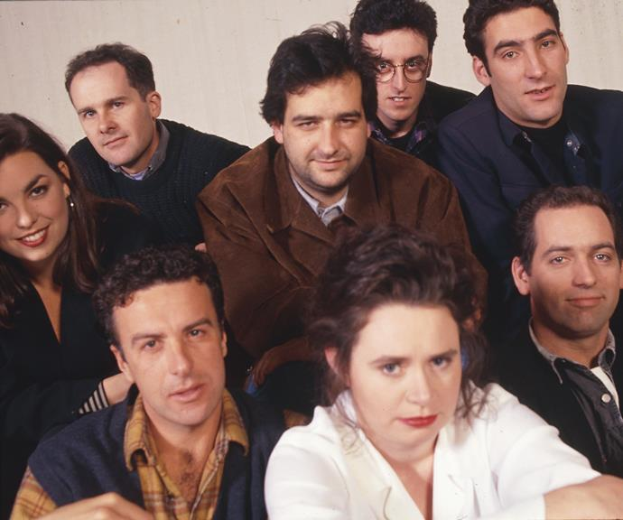 ***The Late Show *1992: ** Bringing viewers laughs were comedians **Jane Kennedy, Tom Gleisner, Mick Molloy, Tony Martin, Jason Stephens, Rob Sitch, Judith Lucy** and **Santo Cilauro. **