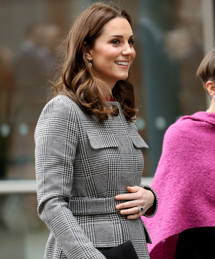 The Duchess of Cambridge, who is currently expecting her third child, visited the Children's Global Media Summit on Wednesday alongside her husband.