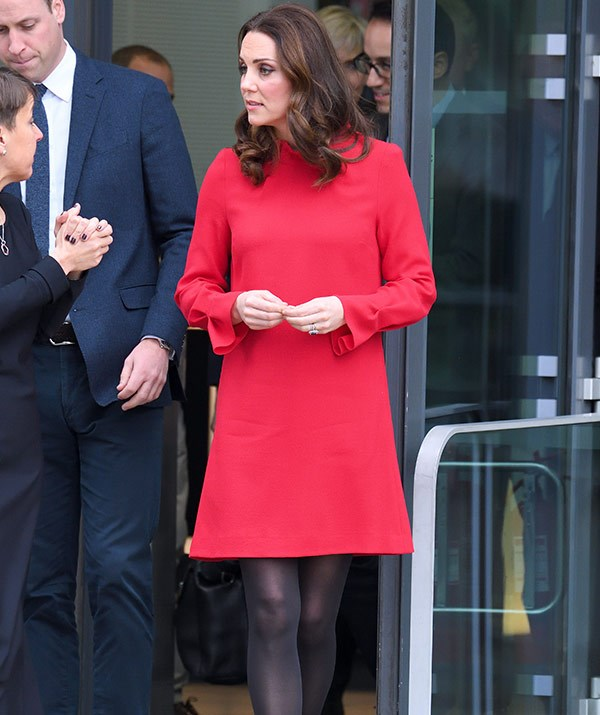 The soon-to-be mum-of-three looked stunning in this red shift dress by Goat Fashion.