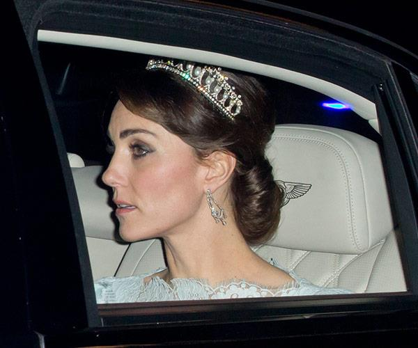Behold! This was the first time Kate wore her mother-in-law's beloved Cambridge Lover's Knot tiara. *(Image: Getty)*