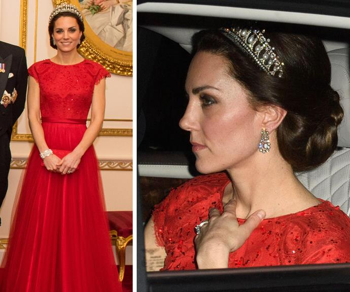 Duchess Catherine wore the Lover's Knot tiara again in 2016. *(Images: Rex Features)*