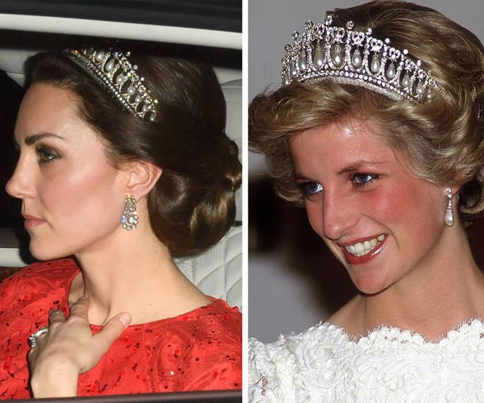 Side-by-side, Kate and Diana both bring so much elegance to the regal accessory. *(Image L-R: Rex Features, Getty)*