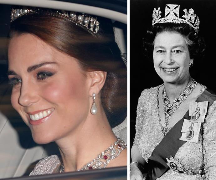 The Queen also lent Kate her diamond and ruby necklace for the occasion. *(Image L-R: Splash and Getty)*