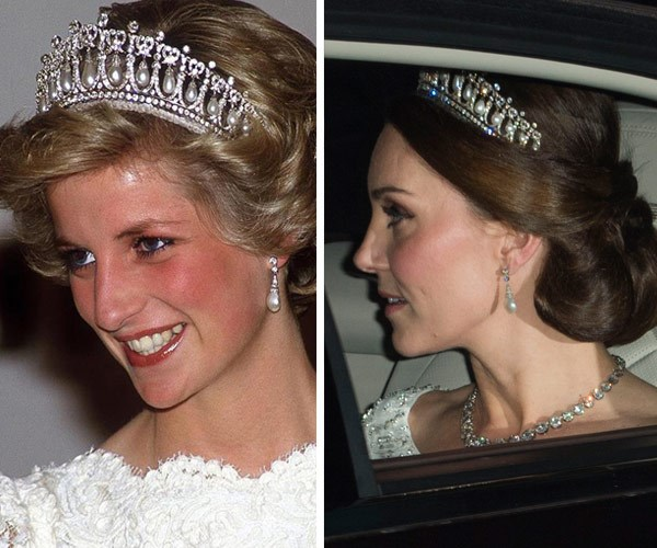 Last December, A pregnant Duchess Catherine wore the iconic Lover's Knot tiara yet again. *(Image L-R: Getty, Rex Features)*