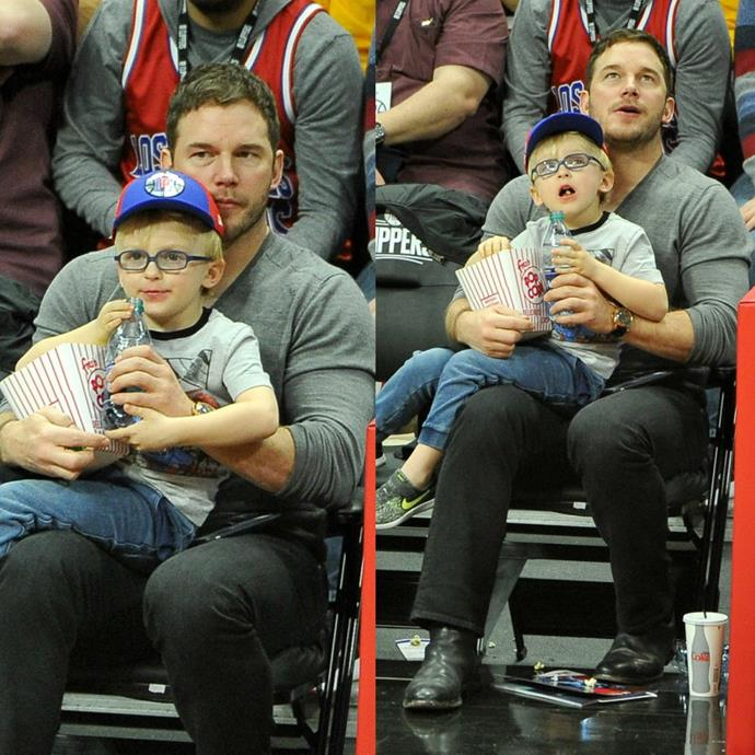 Chris Pratt treated his son Jack to a basketball game on Wednesday, December 6. The *Guardians of the Galaxy* actor, 38, and the five-year-old seemed to have the best seats in the house as they munched on popcorn and took in the action before them -- with matching expressions, no less! The outing comes just five days after the actor filed for divorce from his estranged wife, Anna Faris.
