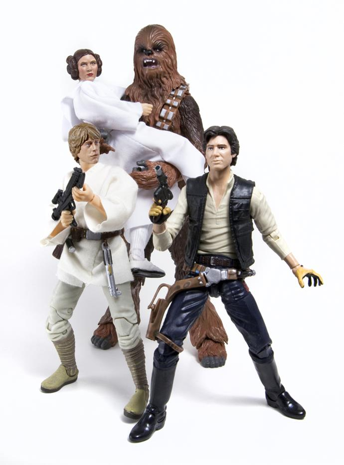 **Star Wars figurines** After the release of Star Wars in 1977, children around the world went ga-ga for merchandise – everything from notebooks and pens to figurines.