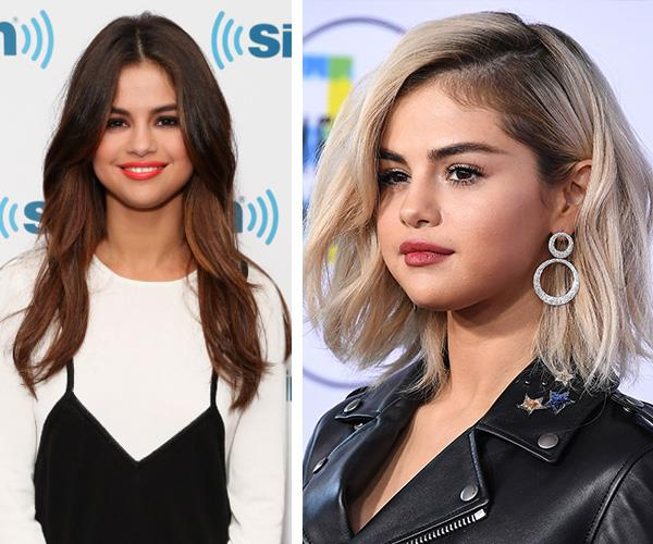 Switching up her signature brunette tresses for a shaggy, blonde bob was a bold move for the singer and actress who has never done anything this drastic with her hair before. A hint of Selena's true colour comes through in the purposeful regrowth close to the roots, a hairstylist trick to ensure the blonde doesn't wash her out. We love it!