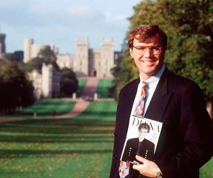 Then: Author Andrew Morton holds up a copy of Diana, Her True Story, outside Windsor Castle in 1994.