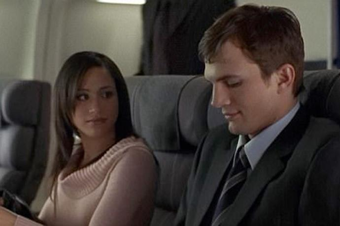 """**A Lot Like Love** You may have spotted Meghan as Ashton Kutcher's seatmate, a character credited as """"Hot Girl,"""" in the 2005 rom-com A Lot Like Love."""