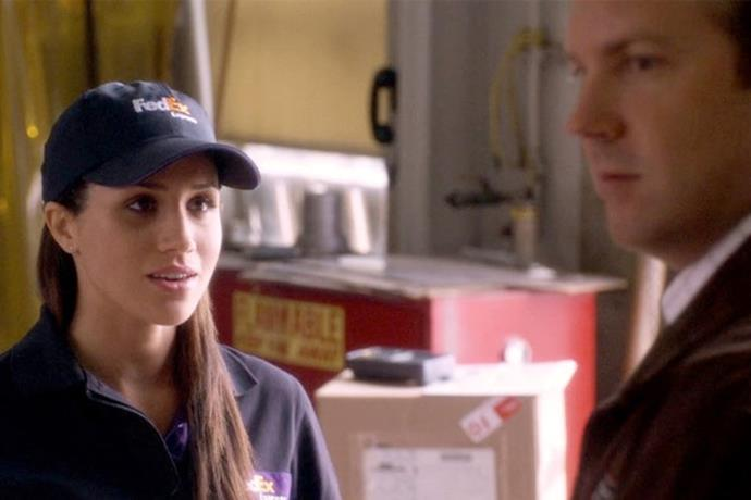 **Horrible Bosses** In another unbecoming role on her resumé, Meghan played a FedEx employee in the 2011 comedy Horrible Bosses. Jason Sudeikis's character thought she was too cute for the blue-collar position!