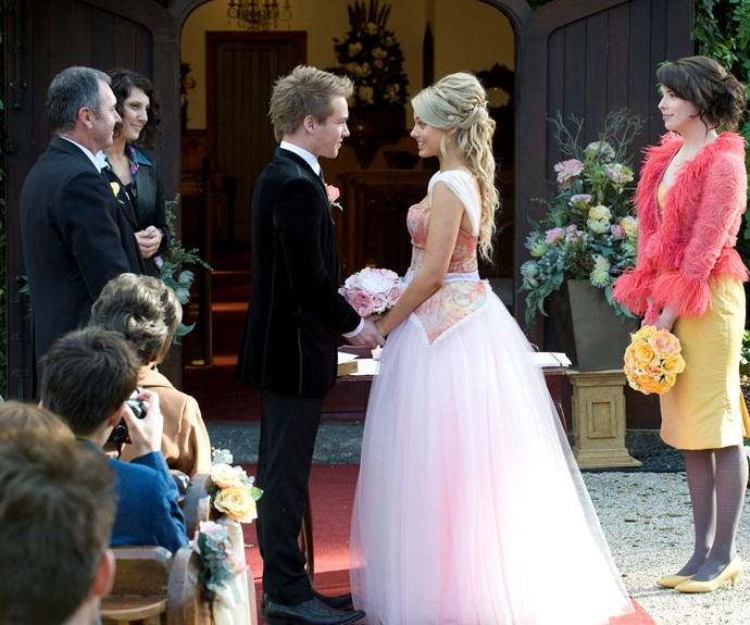 "**Ringo and Donna marry:** Bride Donna (**Margot Robbie**) arrived in style for her 2010 wedding - in the back of a police car! She hitched a ride with the cops after she was pulled over for racing to her wedding in the back of a ute. Margot described the pink Cinderella dress Donna wore for the nuptials to Ringo (**Sam Clark**), as ""very fairytale""."