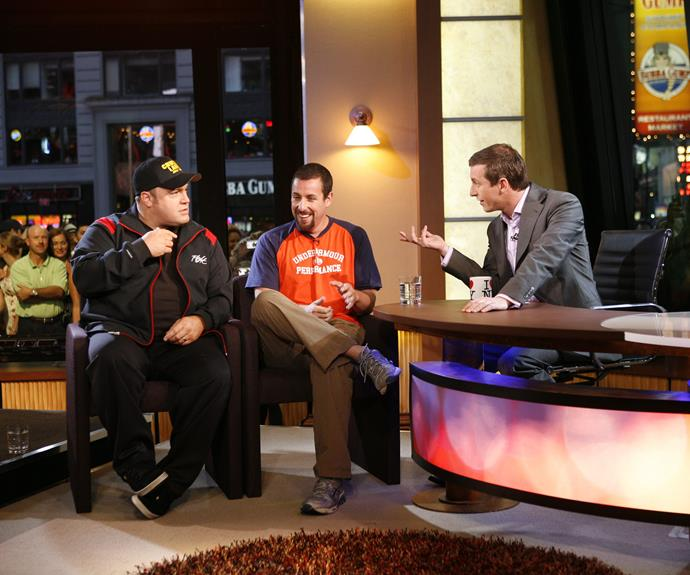 Rove with actors Kevin James and Adam Sandler during a US special in 2007.