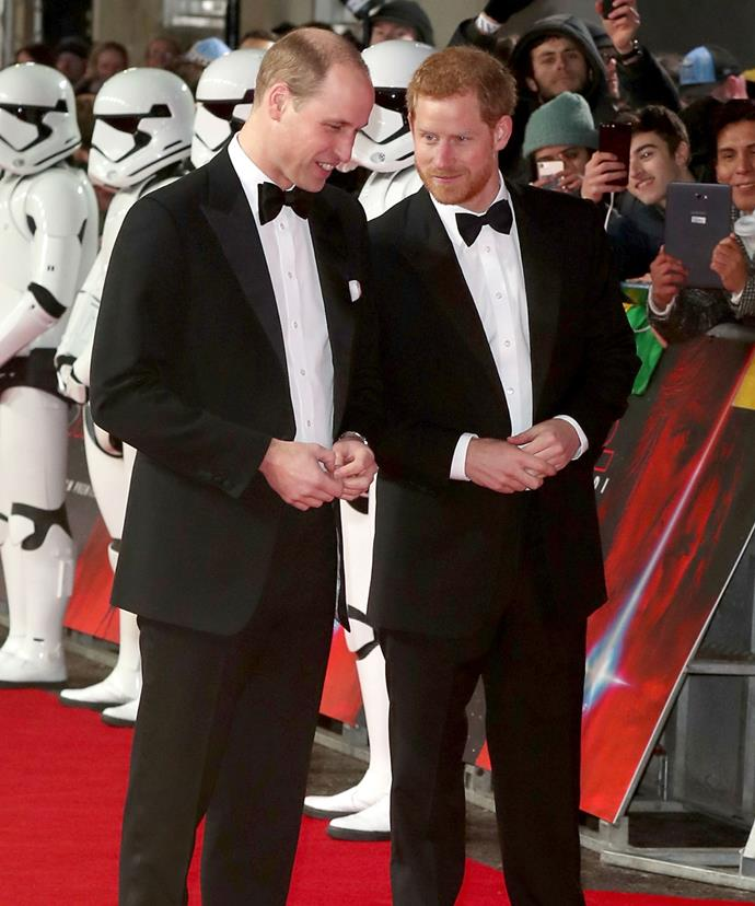The royal brothers joined the darkside for their cameo appearance, filming a scene as dressed as Stormtroppers for the cult movie.