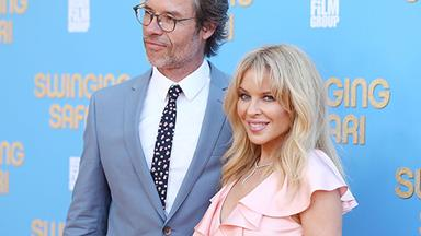 Still good Neighbours! Kylie Minogue and Guy Pearce reunite at the Swinging Safari premiere