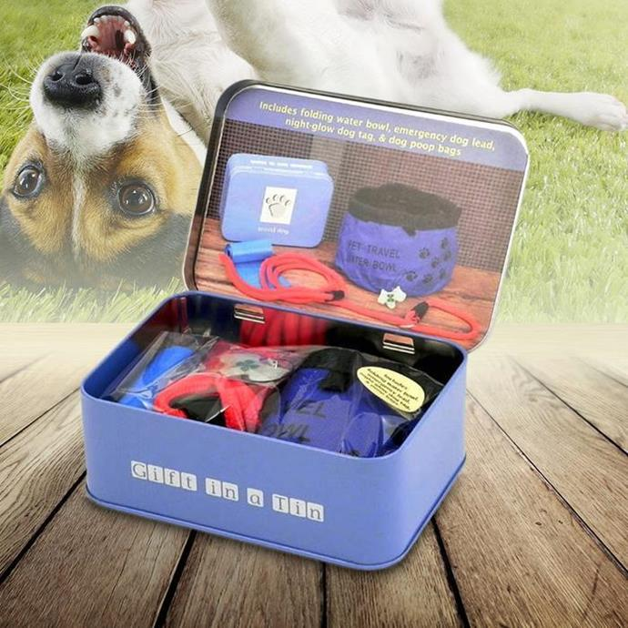 **Travelling Dog Survival Kit $26.99** Includes a dog bowl, night-glow tag, doggy bags and an emergency lead - perfect to keep in the car.