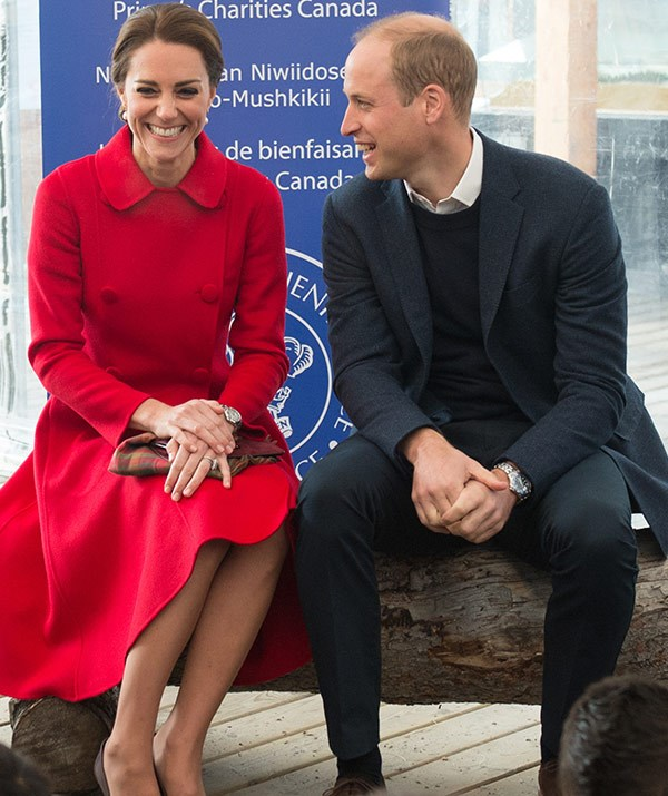 Leaning in and slightly slanting, Catherine; kicked back and chillaxed, William.