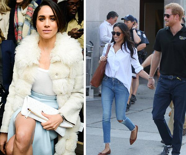 Meghan can kiss goodbye to thigh-high splits, fur and ripped jeans.