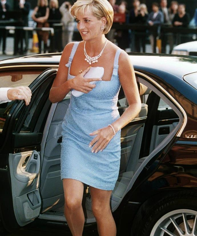 Take note, Megs! Princess Diana was a huge fan of the clutch and would hold the bag over her cleavage when she was getting out of a car to protect herself from prying paparazzi.