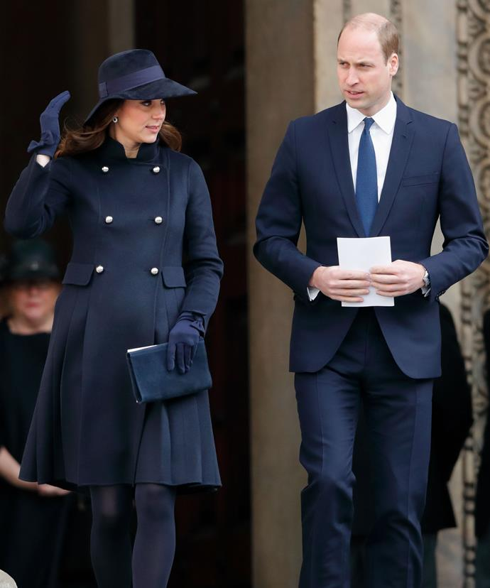 The Duke and Duchess of Cambridge chose to wear navy for the sombre occasion.