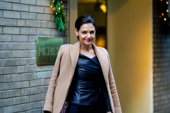 """Katie Holmes with """"baby bump""""."""