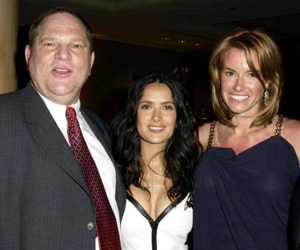 Salma (C) is pictured alongside Harvey Weinstein and Kelly Bensimon back in 2003.