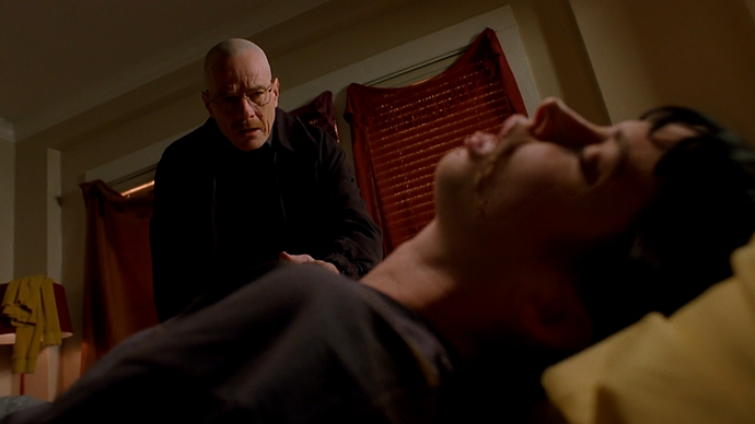 **Walter lets Jane die**, ***Breaking Bad***  Walter White has never been afraid of killing people, either because they were bad or out of self-defence. But we didn't expect him to just let Jane Margolis, his partner Jesse's girlfriend, choke on her own vomit and die in front of his very eyes. The worst part? He could've saved her but didn't, all so he could gain full control over Jesse.
