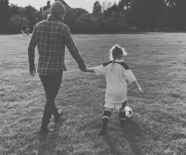 """Someone's ready for her first football lesson ❤️ ⚽️."" The premier league star is building his team of soccer players."