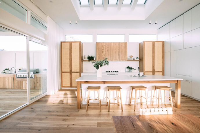 The high ceilings and sky lights open up the space.