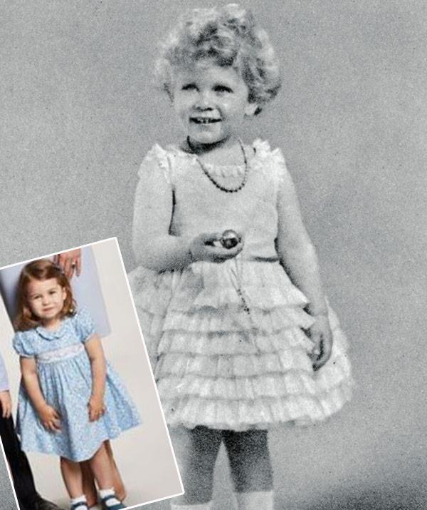 Remind you of anyone? The future Queen picture in London in 1937, is a dead ringer for her great-granddaughter Princess Charlotte (inset).